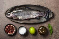 Свежие рыбы и ингридиенты форели на кухонном столе Стоковые Фотографии RF