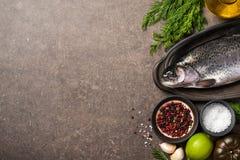 Свежие рыбы и ингридиенты форели на кухонном столе Стоковое Изображение