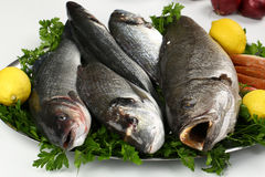 Свежие рыбы и овощ на плите Стоковое Изображение RF