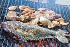 Свежие рыбы и свинина Стоковые Фотографии RF