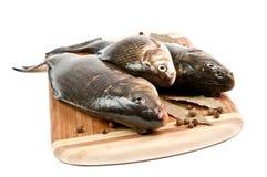 Свежие рыбы на разделочной доске стоковое фото rf
