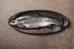 Свежие рыбы форели на кухонном столе Стоковое фото RF