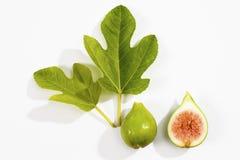 Свежие смоквы с листьями на белой предпосылке Стоковое Фото