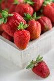 Свежие сочные клубники с листьями Предпосылка клубники еда принципиальной схемы здоровая Свежие органические ягоды Стоковое Изображение