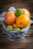 Свежие сочные цитрусовые фрукты в корзине Стоковое Изображение RF