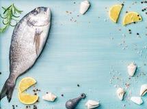 Свежие сырцовые рыбы леща моря украшенные с кусками, специями и раковинами лимона на голубой деревянной предпосылке, космосе экзе Стоковые Изображения RF