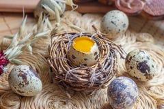 Свежие сырцовые яйца триперсток в гнезде на деревенской соломе и деревянной винтажной предпосылке стоковое изображение