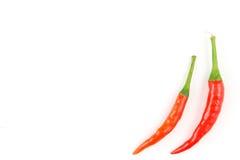Свежие тайские перцы chili изолированные на белой текстуре предпосылки еды предпосылки Стоковая Фотография RF