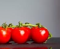 Свежие томаты вишни на серой предпосылке Стоковое фото RF