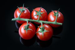 Свежие томаты вишни на черной предпосылке Стоковая Фотография