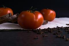 Свежие томаты, домодельный хлеб и гвоздичные деревья Стоковые Изображения RF