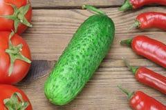 Свежие томаты, перцы Chili и огурец на деревянной доске Стоковая Фотография RF