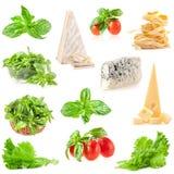 Свежие травы, томаты, разнообразный сыр и макаронные изделия Стоковое фото RF