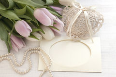 Свежие тюльпаны, поздравительная открытка на день матерей, день валентинок, свадьба Стоковые Фотографии RF