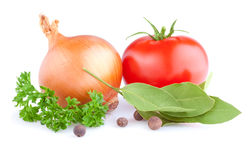 Листья луков, томата, пимента, петрушки и залива Стоковое Изображение