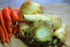 Свежие урожаи корня пастернаки, celeriac и моркови Стоковое Фото