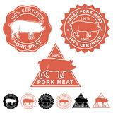 Свежие установленные значки уплотнений мяса свинины Стоковое фото RF