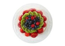 Свежие фрукты взгляд сверху на светлом торте на плите Стоковые Фотографии RF
