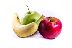 Свежие фрукты желтых яблок банана красных зеленых совместно собирают еду Стоковые Фото