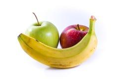 Свежие фрукты желтых яблок банана красных зеленых совместно собирают еду Стоковые Изображения