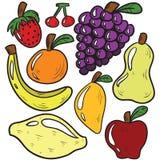 Свежие фрукты и мультфильм Veggies стоковое фото rf