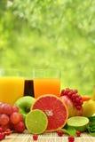 Свежие фрукты и 3 стекла Стоковые Изображения RF