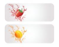 Свежие фрукты и фруктовый сок Backround Стоковая Фотография