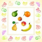 свежие фрукты Покрашенные контуры плодоовощ и ягод Салфетка с плодоовощ и ягодами изображения вектор Стоковые Фотографии RF