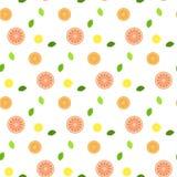 Свежие фрукты с листьями мяты Картина безшовно Стоковые Фото
