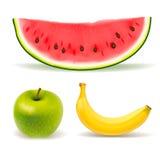 Свежие фрукты установленные на белую предпосылку Стоковая Фотография