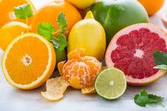 Свежие фрукты цитруса Оранжевая известка лимона грейпфрута с разрешением мяты Стоковое Фото