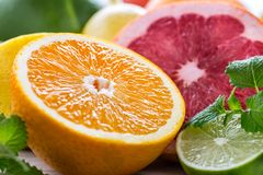 Свежие фрукты цитруса Оранжевая известка лимона грейпфрута с разрешением мяты Стоковое Изображение RF