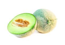 Свежие фрукты дыни одиночные и половинные Стоковая Фотография RF
