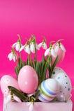 Свежие цветки snowdrop и пасхальные яйца Стоковые Фотографии RF