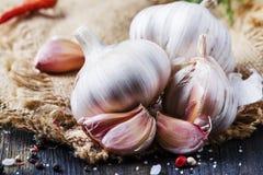 Свежие чеснок, соль моря, перец и специи, деревенский стиль, selecti стоковые фотографии rf