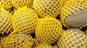 Свежие дыни обернутые с желтой сеткой Стоковое Изображение RF