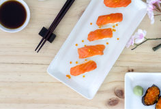 Свежие японские salmon суши Стоковая Фотография