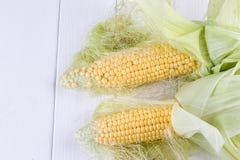 Свежие corns на белой предпосылке Стоковая Фотография RF
