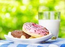 Свежие donuts и стекло молока на предпосылке природы Стоковая Фотография RF