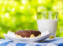 Свежие donuts и стекло молока на backgroun природы Стоковые Изображения RF
