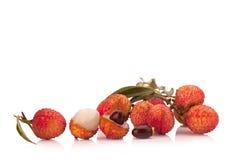 Свежие lychees изолированные на белой предпосылке Стоковые Изображения RF