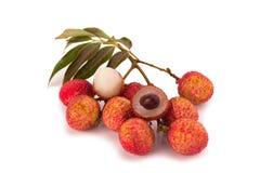 Свежие lychees изолированные на белой предпосылке Стоковая Фотография RF