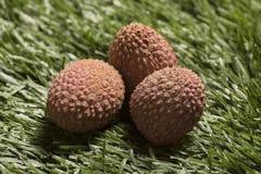 Свежие lychees на предпосылке травы Стоковое фото RF