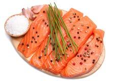 свежие salmon ломтики Стоковая Фотография