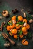 свежие tangerines Клементинов с специями на темноте greeen backgroun Стоковое Изображение