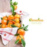 Свежие tangerines на древесине изолированной на белизне Стоковая Фотография