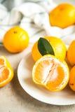 Свежие tangerines на таблице Стоковое Изображение RF