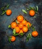Свежие tangerines с листьями на темной предпосылке grunge Стоковое Изображение