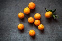 Свежие Tangerines с листьями Стоковые Изображения