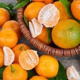 Свежие Tangerines с листьями Стоковое Фото